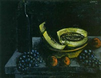 nature morte au melon et raisins by mercadé farrès jordi