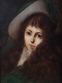 portrait d'une fille au chapeau (la fille de l'artiste) by léon herbo
