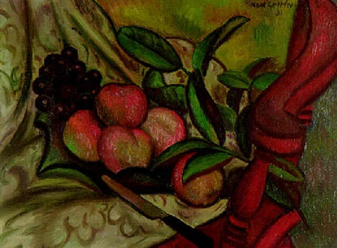 Still life with peahces and grapes on a chair by Mark Gertler on artnet