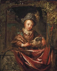 a boy and his dog at a window by dominicus van tol