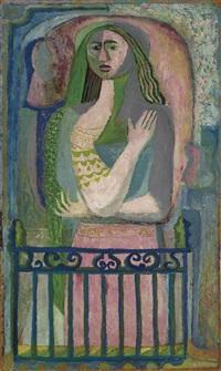 mujer en el balcón by pedro coronel