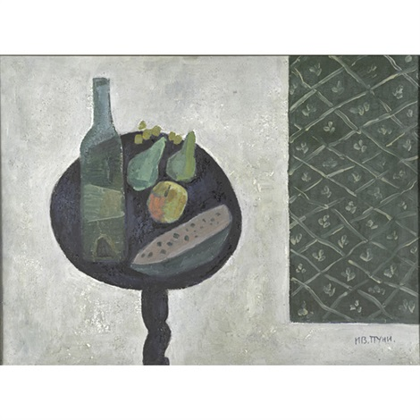 fruits and bottle by jean pougny