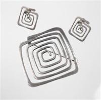 spiral brooch and earrings by ed wiener