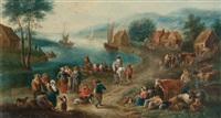 marché au bord d'une rivière by mathys schoevaerdts