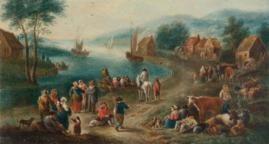 marché au bord dune rivière by mathys schoevaerdts
