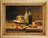 nature morte aux bouteilles et fraises by léon charles huber