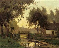 oud rijswijk: a farm by a bridge at dusk by pieter de regt