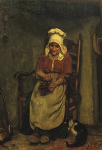grinding the coffee beans by august allebé