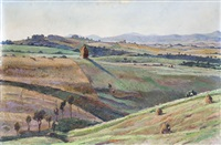 paesaggio di campagna in primavera (+ another; 2 works) by antonio achilli