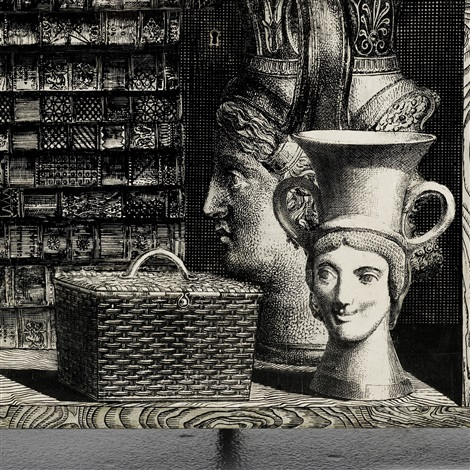 important bookcase by gio ponti and piero fornasetti
