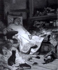 schlafender mönch in der stube by wilhelm von lindenschmit the younger