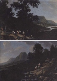 a rocky river landscape with anglers beside a waterfall by rodolfo fantuzzi