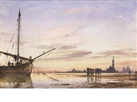 view across the lagoon, venice, sunset by edward william cooke