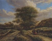 a dune landscape with travellers on a path by vincent laurensz van der vinne the younger