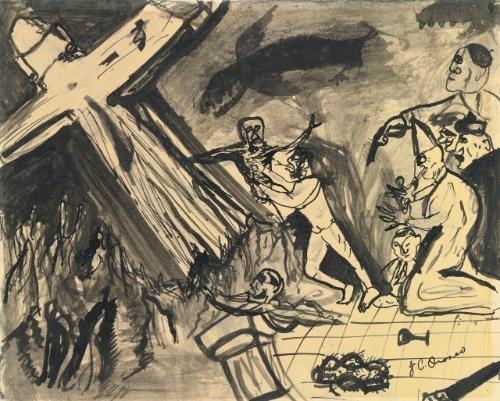 prepatory study for cristo destruye su cruz by josé clemente orozco