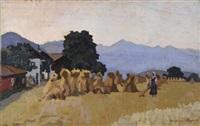 paesaggio con covoni e figura by llewelyn lloyd