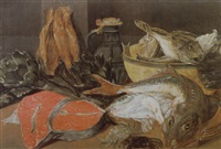 a larder still life of fish, crabs, artichokes, a pottery jug and bowl with a fish on a table by alexander adriaenssen