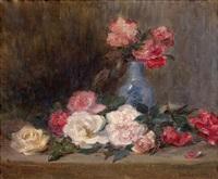 vase de fleurs sur un entablement by jeanne lauvernay-petitjean