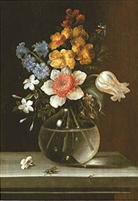 still life of flowers in a glass vase by madeleine françoise basseporte