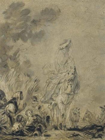 cavalière à cheval des personnages au premier plan by jean honoré fragonard