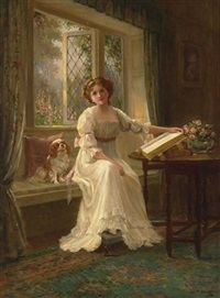 a portrait of a young lady with her king james spaniel in a window seat by sydney percy kendrick