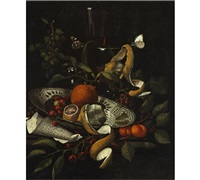 nature morte with lemons, porcelain dish, a sheet of music and butterflies by martinus nellius