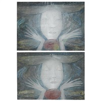 girl with eyes shut (+ girl with eyes open; pair) by margaret macdonald mackintosh