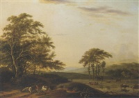 an italianate river landscape with a shepherd and cattle by pieter gaal