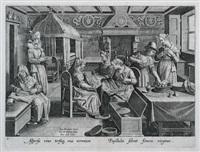 vermis sericus (after j. stradanus; set of 4) by karel van mallery