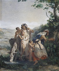 a family at a well by adolphe pierre leleux
