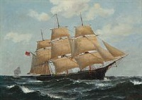 an american clipper at full sails by carl ludwig bille