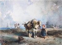 coastal landscapes with fishermen and children (pair) by eduard hildebrandt