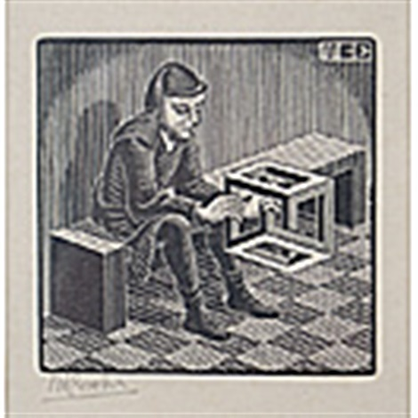 man with cuboid by m c escher