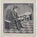 man with cuboid by m. c. escher