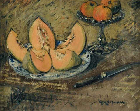 nature morte au melon by gustave loiseau