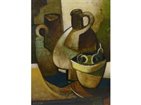 still life of vases and pears by geoffrey key