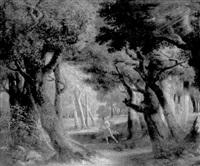 paysage de sous-bois avec apollon et daphnée by louis gadbois