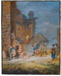 peasants dancing and singing by a crumbling castle by gerrit adriaensz de heer