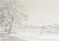 view in green park, buckingham house, from 76 piccadilly by franz joseph manskirch