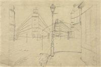 etude architectural et perspectival (study for rue de paris, temps de pluie) by gustave caillebotte
