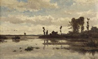 a farm and a windmill in an extensive polder landscape by paul joseph constantin gabriël