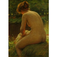 female nude at the water's edge by frank hector tompkins