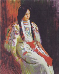 northern plains native american woman by ellen day hale