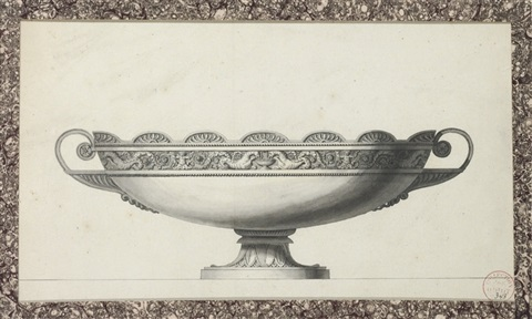 design for a tazza decorated with a frieze of seahorses and putti by jean guillaume moitte