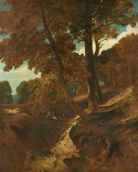 forest landscape with shepherds by charles hoguet