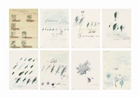 natural history, part ii: some trees of italy (set of 8) by cy twombly