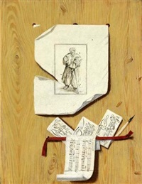 a still life of an etching and letters by andrea domenico remps