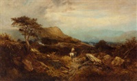a traveller on horseback in a highland landscape by william roe