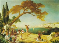 arab dancers by the bosphorus by augustine simonet