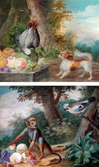 a parrott and a dog by some fruit by j. f. hefele